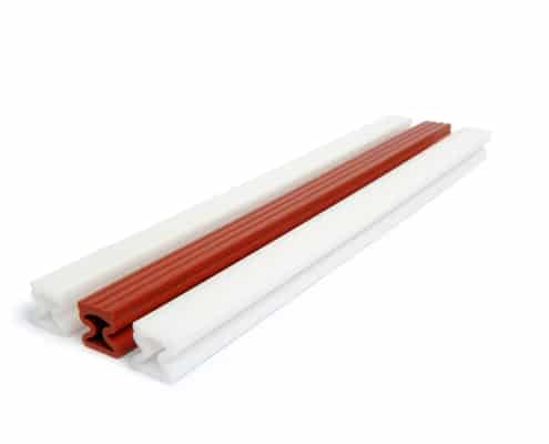 White and Red Elastomer Extruded Profiles