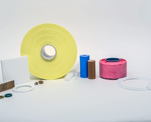 Rods, cylinders, sheets, gaskets, skived tapes, extruded tapes