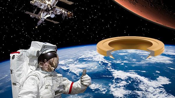 宇宙飛行士のサムズアップとK-Portのシールと衛星
