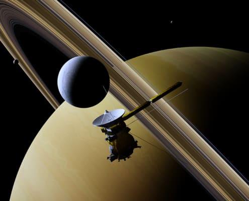 Cassini spacecraft in front of Saturn