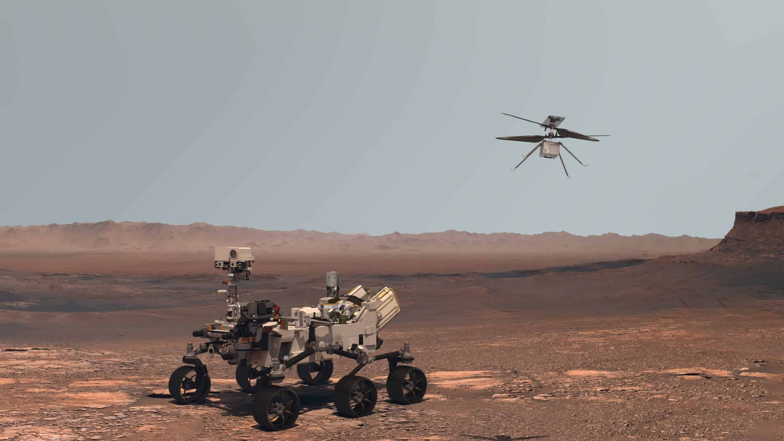 Perserverence Rover and Ingenuity helicopter on Mars